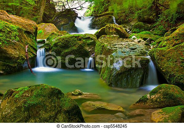 폭포, 녹색, 자연 - csp5548245