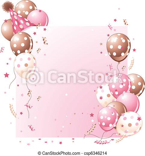 핑크, 생일 카드 - csp6346214