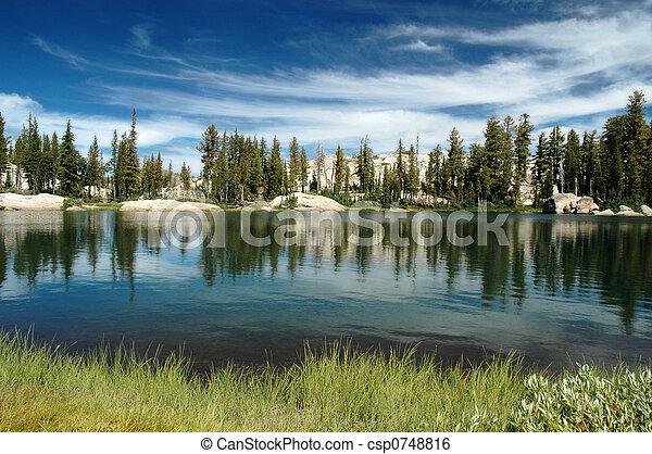 하늘, 호수 - csp0748816