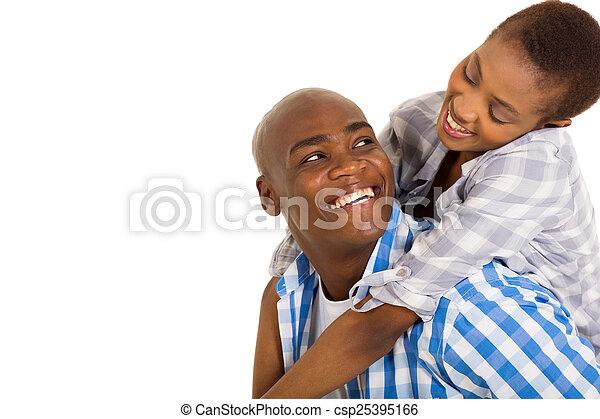 한 쌍, 남을 사랑하는, 나이 적은 편의, african - csp25395166
