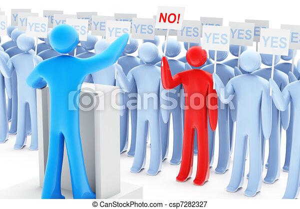 항의, 정치에 참여하는 - csp7282327