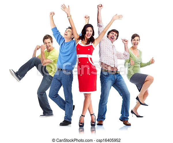 행복하다, 그룹, 사람 - csp16405952
