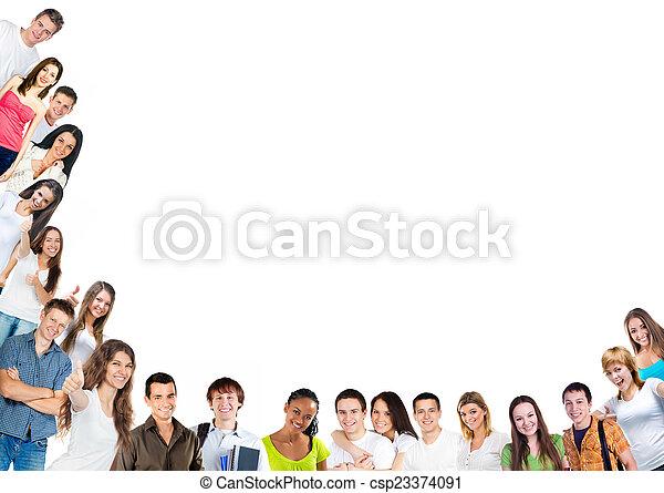 행복하다, 그룹, 젊은이 - csp23374091