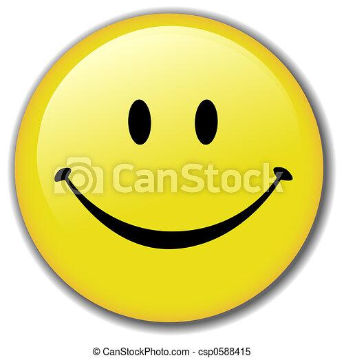 행복하다, 단추, 스마일리, 기장, 얼굴 - csp0588415