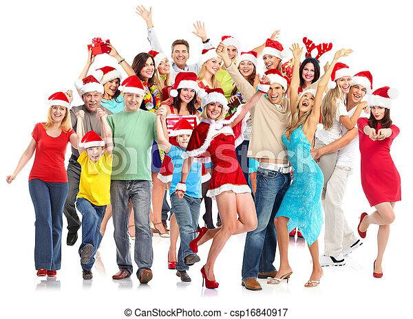 행복하다, group., 크리스마스, 사람 - csp16840917