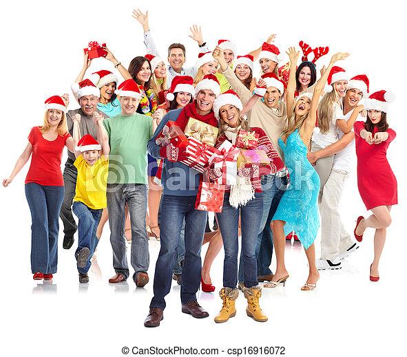 행복하다, group., 크리스마스, 사람 - csp16916072
