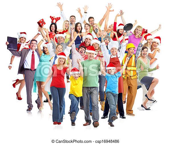 행복하다, group., 크리스마스, 사람 - csp16948486