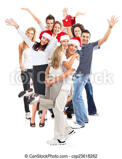 행복하다, group., 크리스마스, 사람 - csp23618262