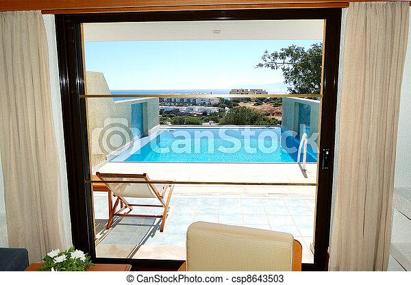 호텔, 아파트, 사치, 바다, 그리스, crete, 보이는 상태 - csp8643503