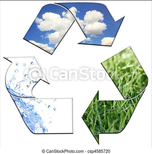 환경, 유지, 재활용, 날씬한 - csp4585720
