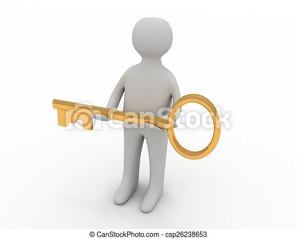 황금, 또 하나의, 증여/기증/기부 금, 사람, 열쇠, 남자, 3차원 - csp26238653