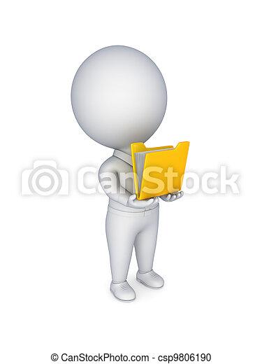 황색, 사람, 작다, 폴더, hands., 3차원 - csp9806190