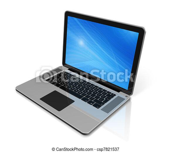 휴대용 컴퓨터, 고립된, 백색 - csp7821537