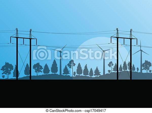 힘, 자연, 전기, 삽화, 높은, 시골, 벡터, 발전기, 전압, 배경, 바람, 탑, 선, 조경술을 써서 녹화하다, 숲 - csp17049417