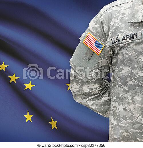 -, állam, bennünket, alaszka, katona, lobogó, háttér, amerikai - csp30277856