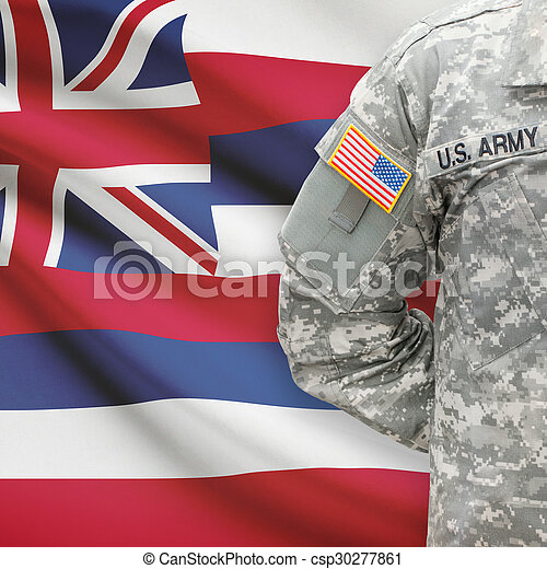 -, állam, bennünket, hawaii, katona, lobogó, háttér, amerikai - csp30277861
