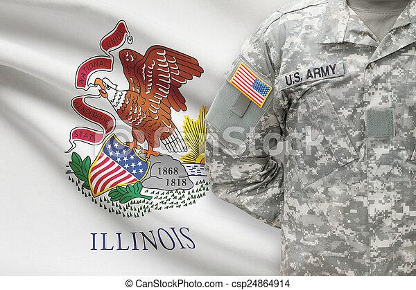 -, állam, bennünket, illinois, katona, lobogó, háttér, amerikai - csp24864914