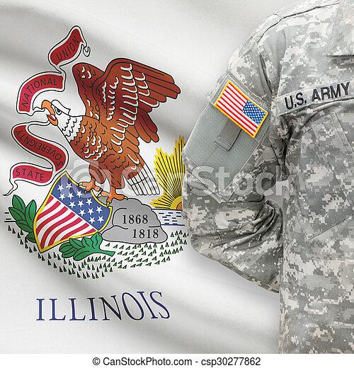 -, állam, bennünket, illinois, katona, lobogó, háttér, amerikai - csp30277862