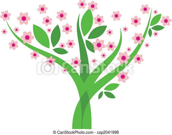 -, イメージ, ベクトル, 木, 花 - csp2041998
