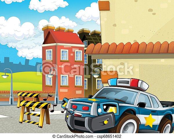 -, イラスト, オフロードで, ブロック, 警察, 子供, 漫画, 追跡, 自動車 - csp68651402