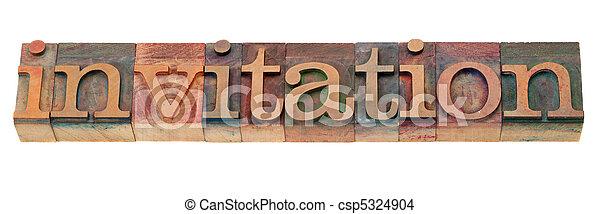 -, タイプ, 単語, 凸版印刷, 招待 - csp5324904