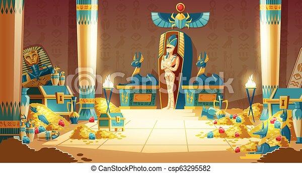 -, ベクトル, エジプト人, 石棺, pyramid., ファラオ, 漫画, 墓 - csp63295582