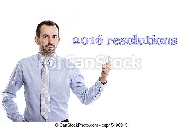 -, ワイシャツ, ビジネスマン, 小さい, 2016, 青, 指すこと, ひげ, の上, 若い, resolutions - csp45498315
