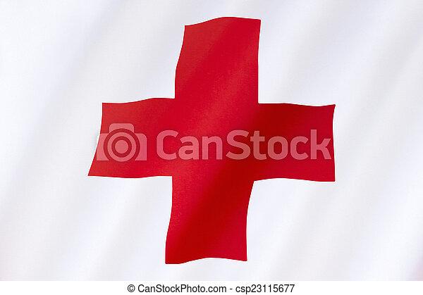 -, 交差点, 旗, インターナショナル, 援助, 赤 - csp23115677