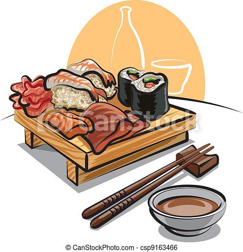 -, 寿司, セット, 料理, 日本語 - csp9163466