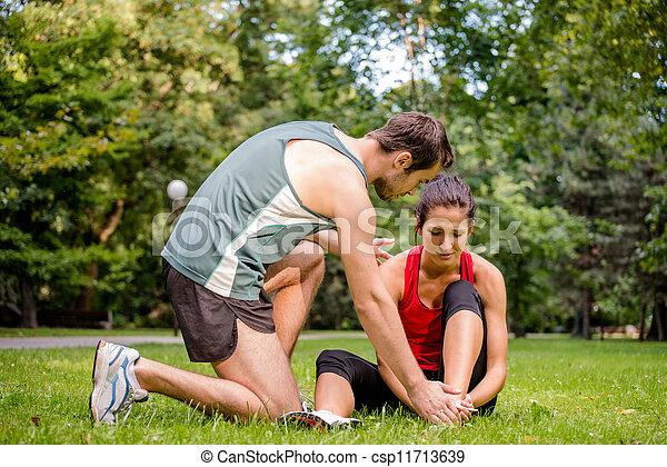 -, 手, 助力, スポーツ, 傷害 - csp11713639