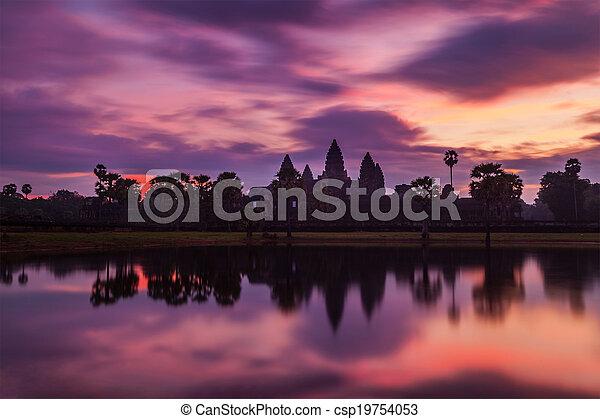 -, 有名, angkor, カンボジア人, ランドマーク, ワット, 日の出 - csp19754053