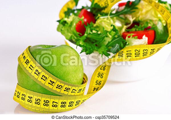 -, 測定, りんご, テープ, レタス, 丸薬, 食事, 緑, 概念 - csp35709524