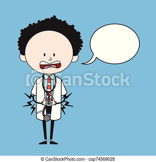 -, 漫画, 胃, 医者, 感じ, スピーチ泡, 痛み - csp74569028
