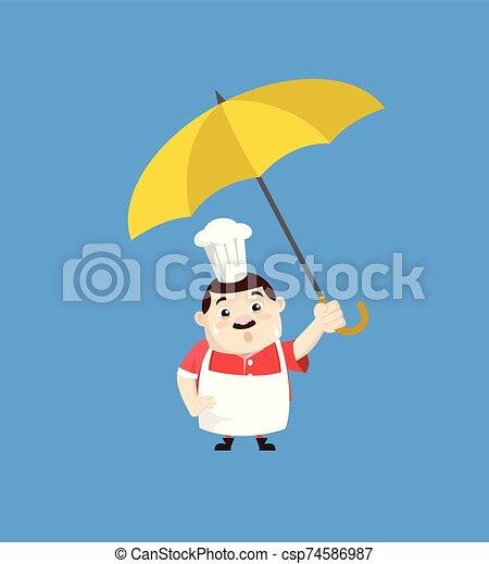 -, 漫画, 脂肪, 面白い, コック, 地位, 傘 - csp74586987