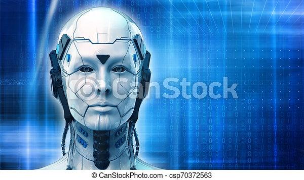 -, 背景, ロボット, 3d, 技術, レンダリング, 女, 壁紙 - csp70372563