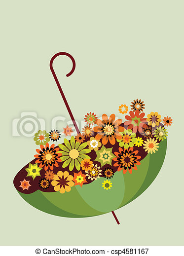 Un paraguas verde de otoño lleno de flores. De fondo gris -2 - csp4581167