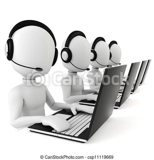 Hombre 3D, centro de llamadas - csp11119669