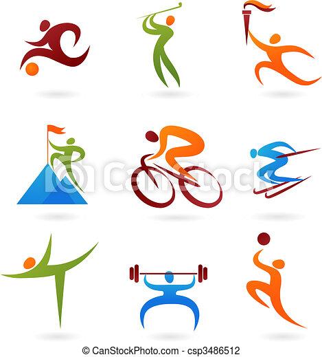 -4, sporten, verzameling, pictogram - csp3486512