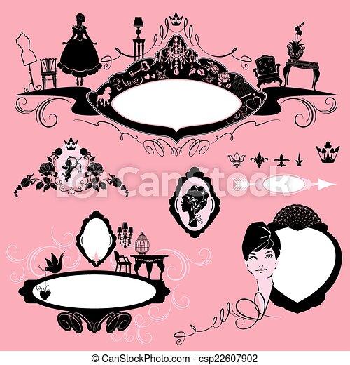 Bilder mit Glamour Accessoires, Möbel, Mädchenporträt - bla - csp22607902