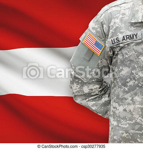 -, amerikai, katona, ausztria, háttér, lobogó - csp30277935