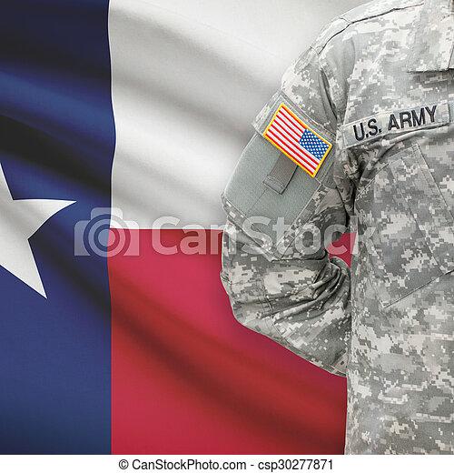 -, amerikai, katona, lobogó, háttér, texas - csp30277871
