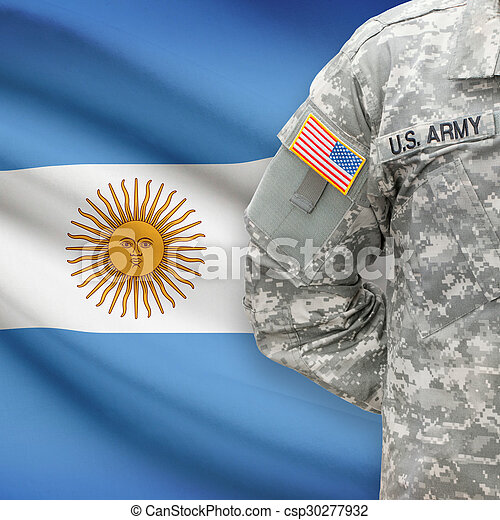 -, amerikai, katona, lobogó, háttér, argentína - csp30277932