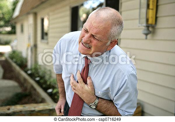 -, ataque cardíaco, homem, maduras - csp0716249