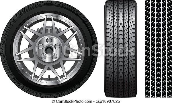 -, autógumi, fék, abroncs, gördít - csp18907025