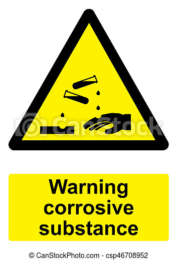 -, avvertimento, nero, corrosivo, fondo, isolato, sostanza, segno, bianco, giallo - csp46708952
