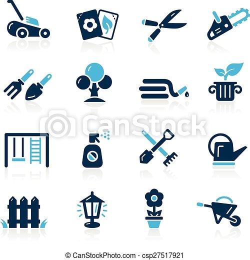 --, azure, ícones, jardinagem, série - csp27517921