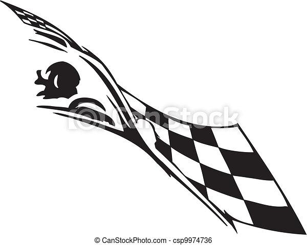-, bandeira, checkered, correndo, símbolo - csp9974736