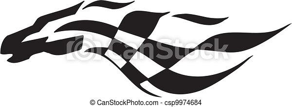 -, bandeira, checkered, correndo, símbolo - csp9974684