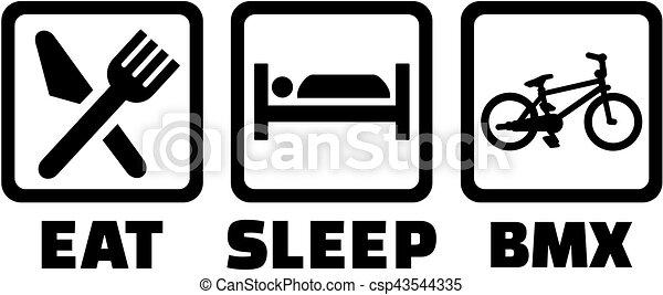 -, bmx, 睡眠, 食べなさい, アイコン - csp43544335