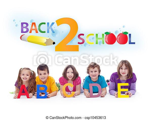 -, brieven, school, back, alfabet, concept, geitjes - csp10453613